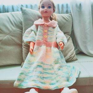 Pastel Rainbow Retro Dress Puffed Sleeve Knit 3-4Y